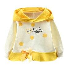 Толстовки с капюшоном для маленьких девочек; Осенняя детская одежда для маленьких девочек; толстовки с капюшоном в горошек с длинными рукавами и надписью; одежда для маленьких девочек
