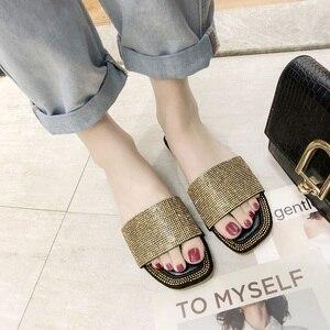 Image 3 - SHOFORT נשים נעלי אופנה נעליים מגניבים קיץ חיצוני נעלי מזדמנים נעלי בית נעלי בית תחתון החלקה ריינסטון בלינג