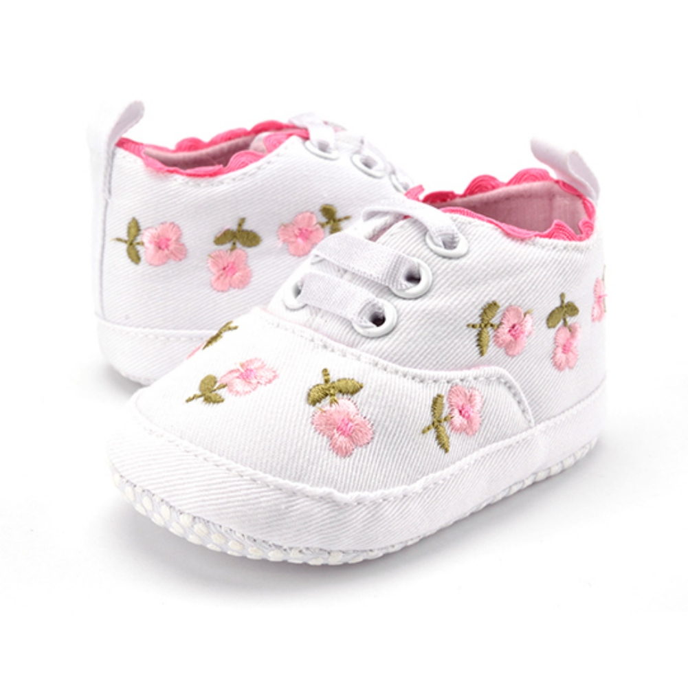 Spring Autumn Infant Baby Girls Cotton Shoes Lovely Lace Floral Embroidered Solid Color Comfortable High Quality Soft Sole Shoes