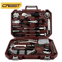 Conjunto de ferramentas de mão casa reparação automóvel ferramenta mista pacote combinação com caixa armazenamento plástico caixa martelo chave fenda