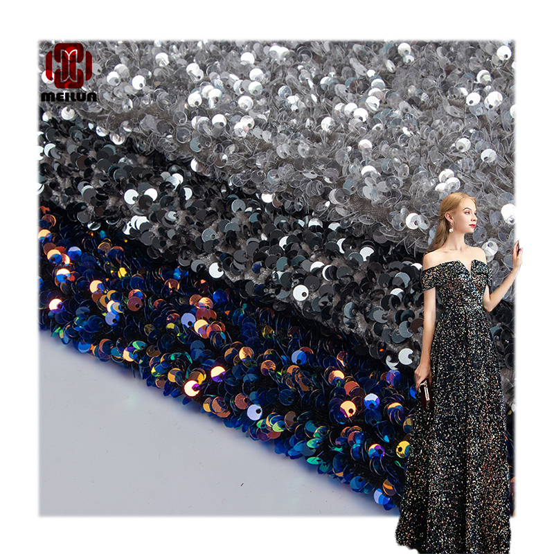 Hot Robe De Soiree Longue Mariage Sequins Wedding Dress By The Yard Stretch On All Sides Double Face Fabric For Handbags Garment