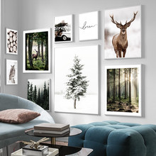Winter Snow Forest Deer Owl Sunlight Landscape Painting Nordic Morning Scenery Canvas Poster Art Print Wall Pictures Home Decor