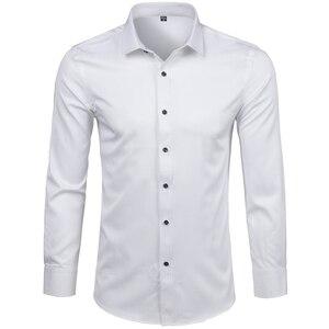 Image 3 - Mannen Bamboevezel Jurk Shirts Casual Slim Fit Lange Mouw Man Sociale Shirts Comfortabele Niet Ijzer Effen Chemise Homme blauw