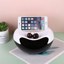 Lazy Snack Bowl Plastic Multifunction Double Layer Snack Storage Box Plate Organizer Fruit Plate Bowl With Phone Holder Fruits