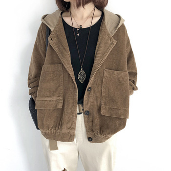 Loose casual Corduroy Jackets Women Long Sleeve Solid color Jacket Coat Women Hooded Corduroy coat Single Breasted Pocket Jaket фото