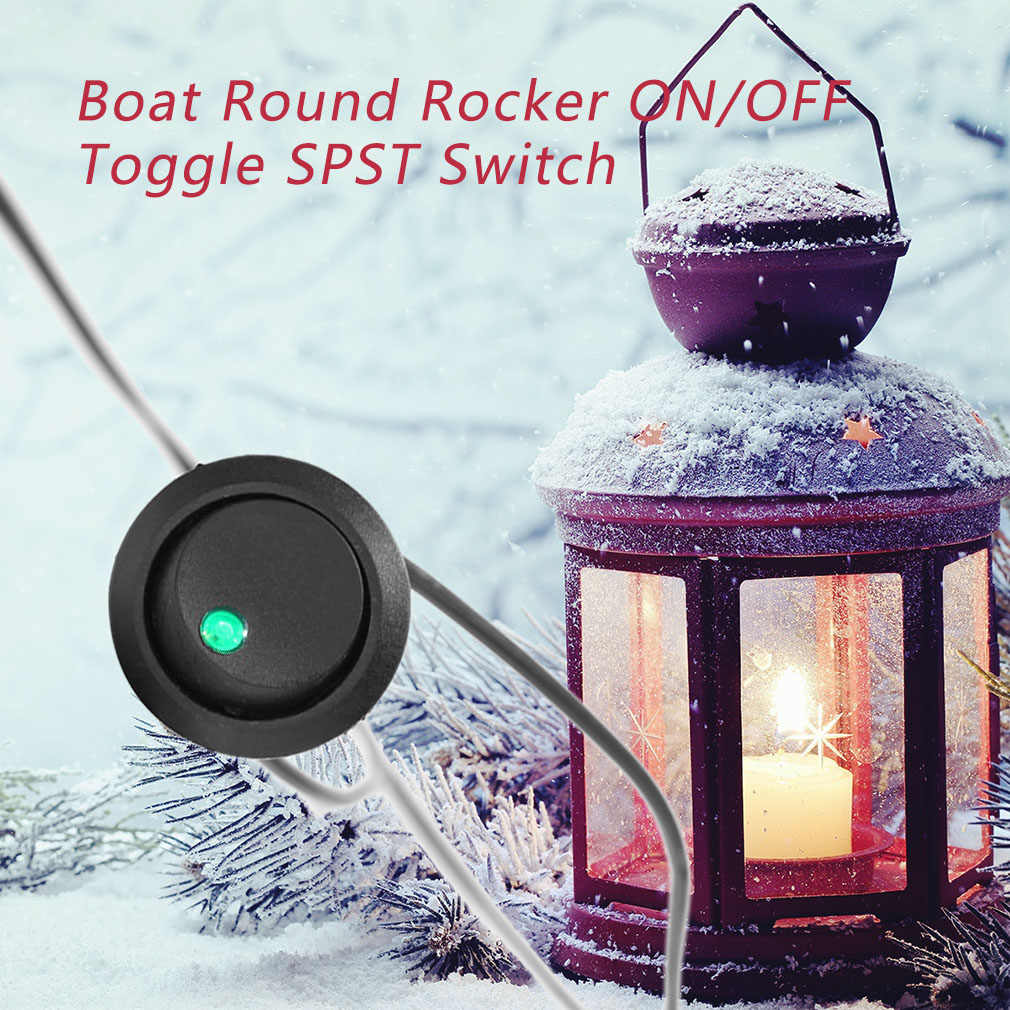 Led Dot Light 12V Car Auto Boat Round Rocker ON/OFF Toggle SPST Switch Truck with a Keyhole slot to Prevent Unwanted Rotation