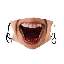Unisex respirável algodão máscara 3d engraçado impressão máscara facial filtro proteger respingos earloops filtro elástico máscara boca máscara