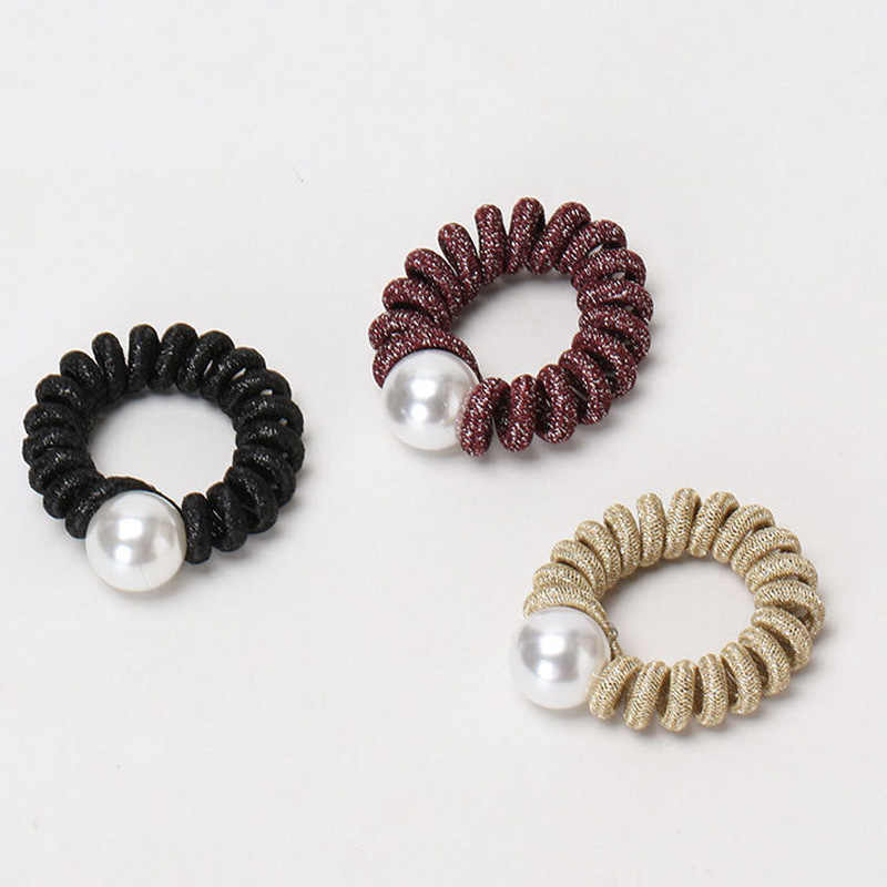 2PCS Pearl Hair Scrunchies Ponytail Hair Band Ring Rope Elastic Hair Accessories
