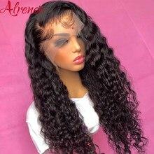 Onda profunda 13x4 perucas da parte dianteira do laço do cabelo humano para as mulheres pré arrancadas com o cabelo do bebê glueless remy brasileiro profunda peruca dianteira do laço encaracolado
