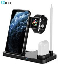 DCAE 4 in 1 QI Wireless Charger Stand For iPhone 11 Pro XS XR X 8 10W Fast Charging Dock Station for Airpods Apple Watch 5 4 3 2