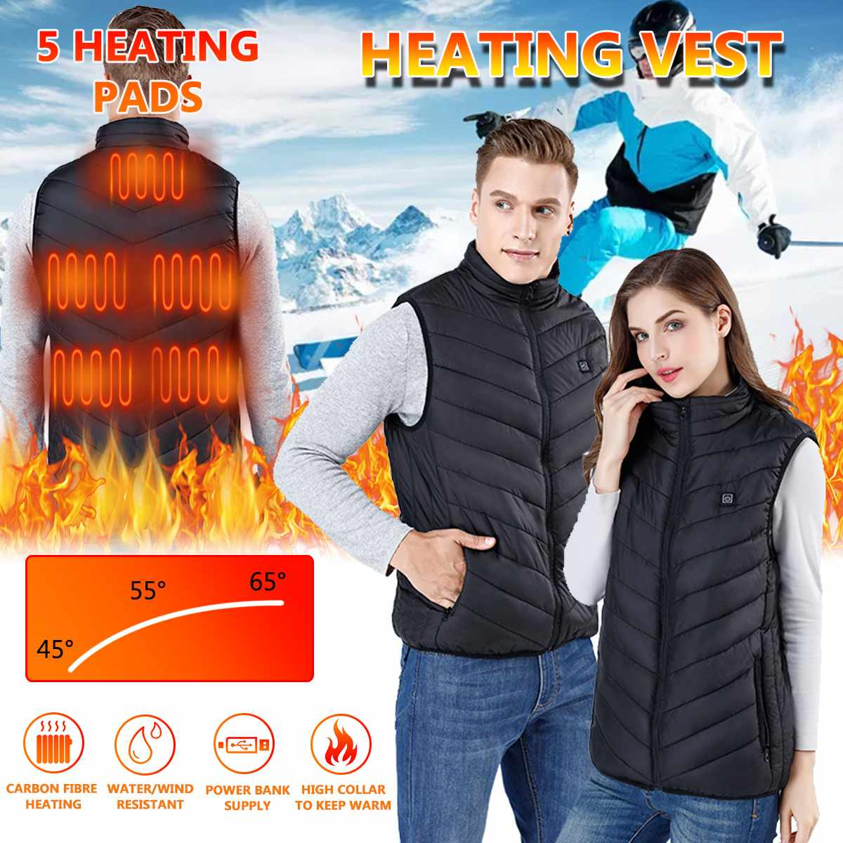 Smart Warming Heated Vests Washable Autumn Winter Male SB Electric Smart Tactical Heating Waistcoat For Hunting Camping Hiking