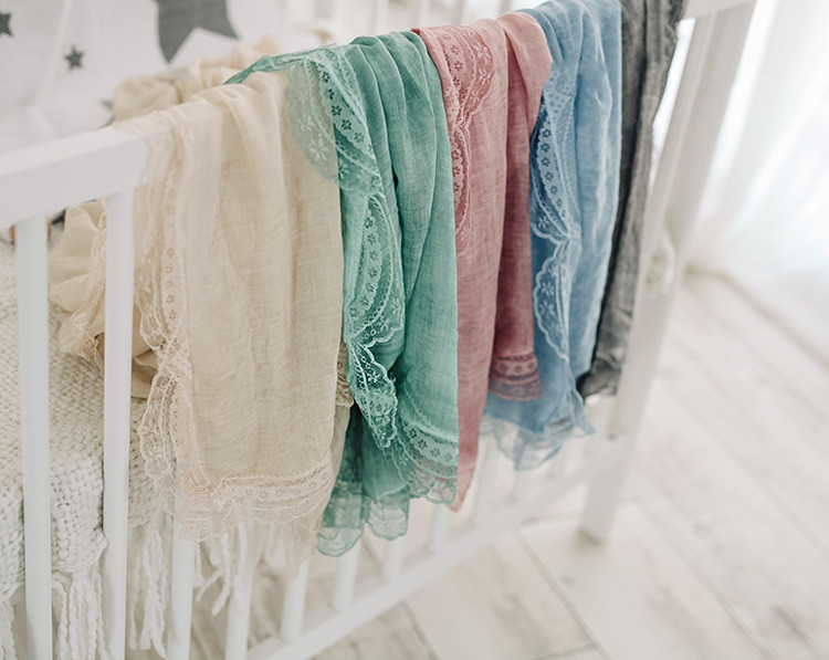 Baby  Photo Props Wavy Lace Edge Cotton Wrap Blanket 7 Color Available Newborn Photography Prop