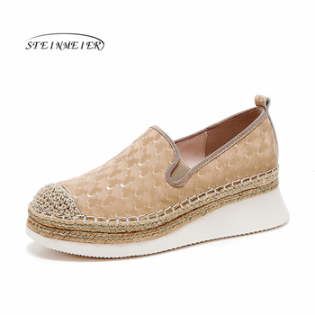 Women's Flats Oxford Shoes Woman Genuine Leather Sneakers Ladies Brogues slipon Vintage Casual Shoes Oxfords Shoes For Women