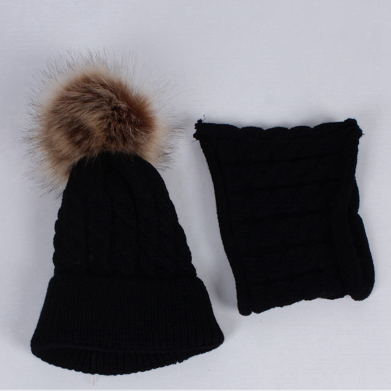 WZCX Child Pompom Hat Scarf Women Set Keep Warm Solid Color Casual New Knitting Thicken Baby Beanie Ski Cap