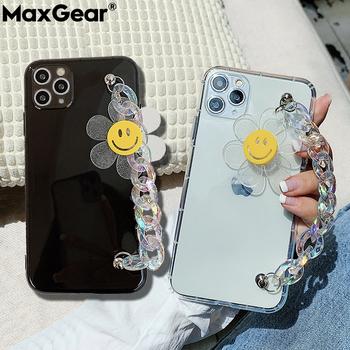 Cukierki kolor Case + pasek na rękę poręczny uchwyt łańcucha dla iPhone 11 Pro Max XS XR X 6 6S 7 8 Plus SE 2020 śliczny kwiat miękka przezroczysta okładka tanie i dobre opinie MaxGear APPLE CN (pochodzenie) Fitted Phone Case Luxury Fluorescent Bling Glitter Hand Band Slim TPU Transparent 12Pro Zwykły