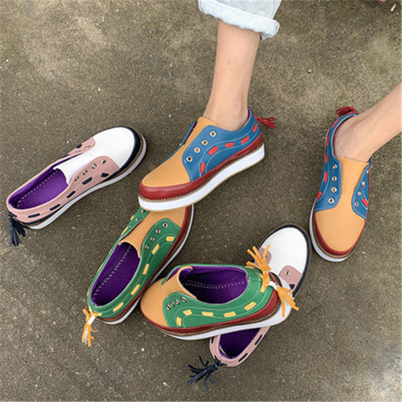 Flat-Shoes Slip-On Spring Women Fashion New-Arrival 35-43 Plus Causal Peadal Low-Top