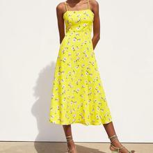 Chiffon Long Dress Women Summer Casual Printed Slash Neck Spaghetti Floral High-waist Dresses For Girls все цены