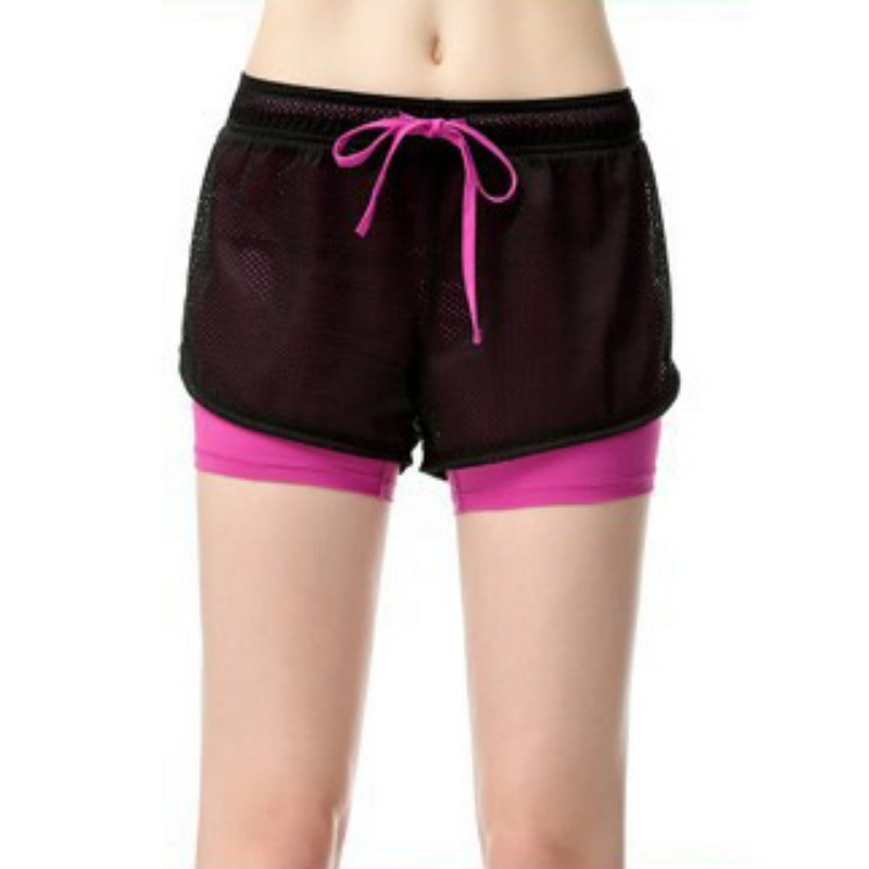 Women Cotton Mesh Drawstring Two Layer Short Pants Fitness Fold Short Pants