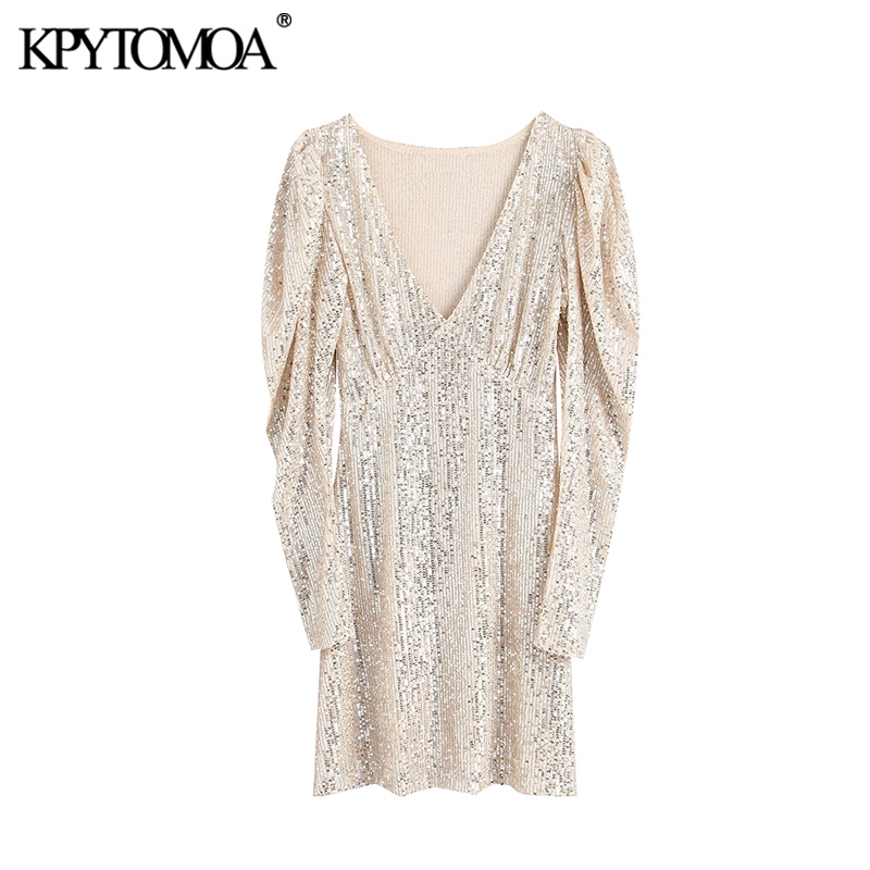 Vintage Sexy Shining Sequin Mini Sheath Dress Women 2020 Fashion V Neck Puff Sleeve Stretchy Female Party Dresses Vestidos Mujer