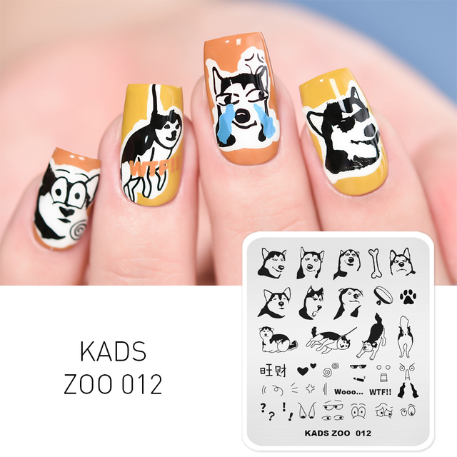 1pc New Nail Art Stamping Plate Cute Dog Pattern Nail Stamp Template Husky Expression Image Manicure Stencil Tool for Nail Art