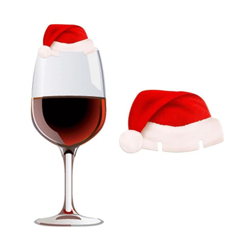 6//10pcs Christmas Hats Champagne Wine Glass Caps Xmas Holiday Party Decorations
