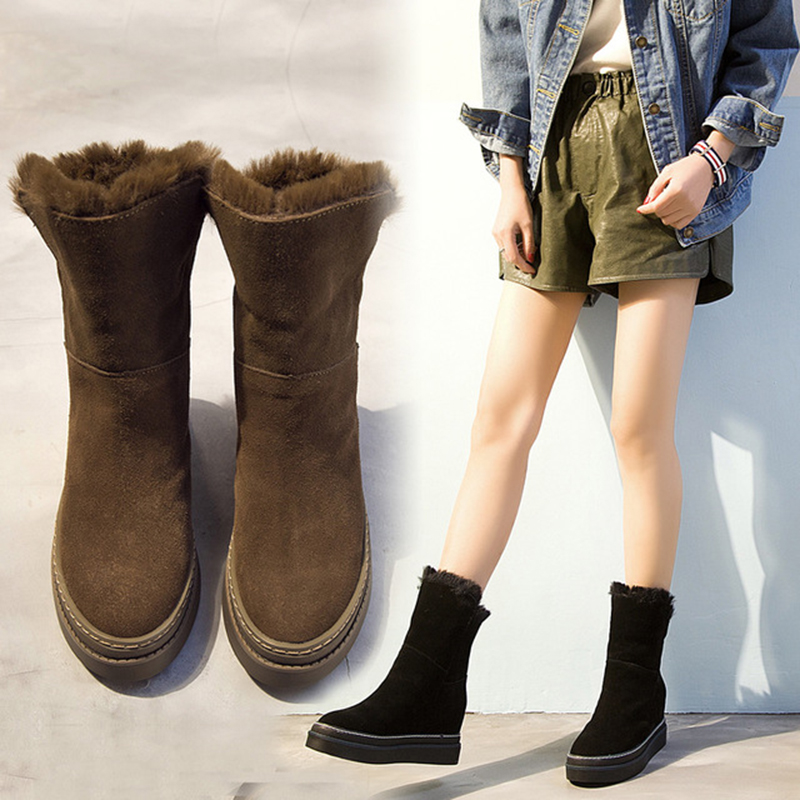 Women's Snow Boots Genuine Leather Hidden Heel Ladies Boot Winter Plush Woman Mid-Calf Boots Slip On Women Winter Boot Snow Shoe