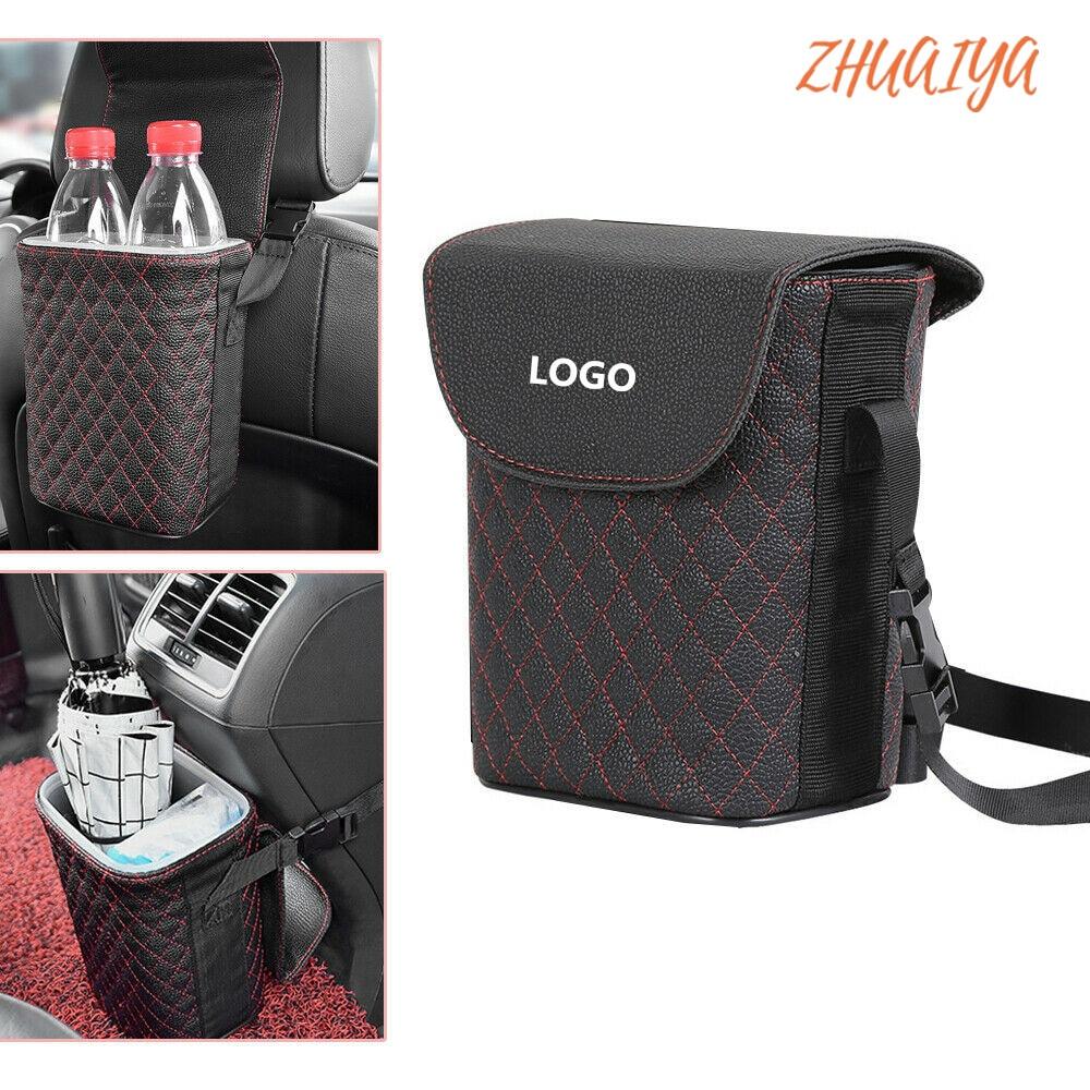 Leather Car Trash Bin Auto Organizer Storage Box Gargage Holder Automobile Storage Car Accessories For Volkswagen LOGO