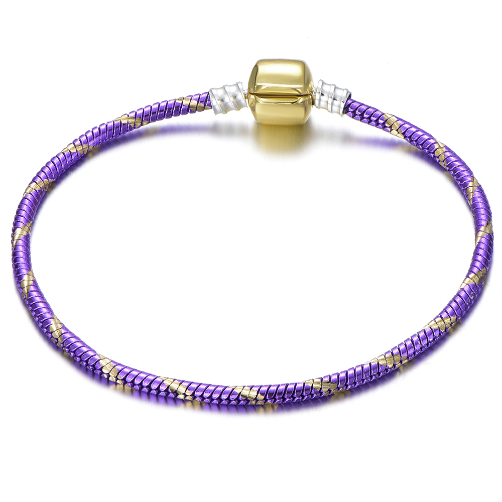 CUTEECO New Purple Color Stripe Charm Bracelet For Women Classic Snake Chain Bracelets Bangles Fashion Jewelry Wholesale in Charm Bracelets from Jewelry Accessories