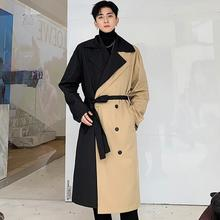 Mens trench coats man long coat men Double breasted clothes personality Asymmetr