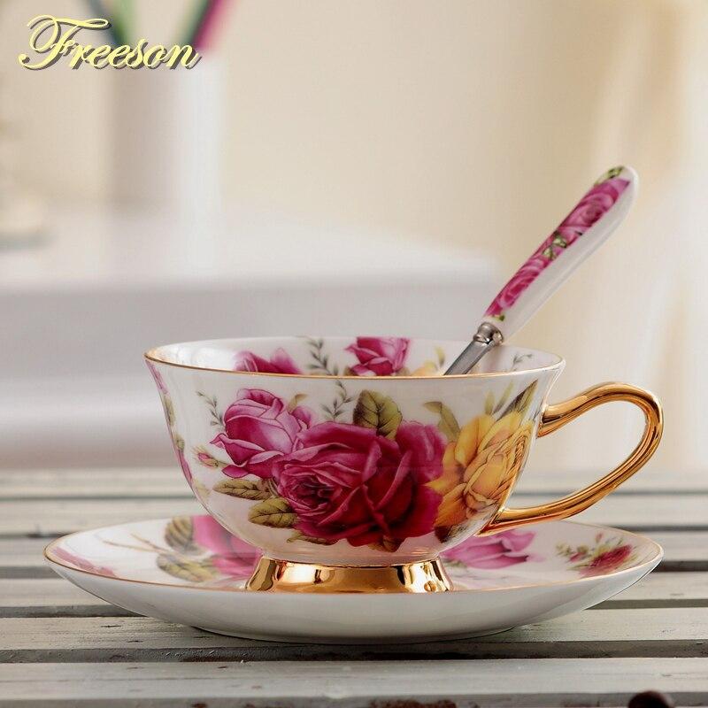 Pastoral, taza de té de porcelana China de hueso de rosa, juego de cuchara de 200ml, taza de café de porcelana avanzada de Europa, taza de té Floral de cerámica, triangulación de envío Copa Menstrual de silicona de grado médico, copa Menstrual de silicona para mujer, copa de vagina con Coletor Menstrual 1 Uds.