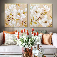 Hand Painted Oil Painting On Canvas Gold Flower Painting Modern Art Floral Paintings Large Wall Art Home Decor White Magnolia