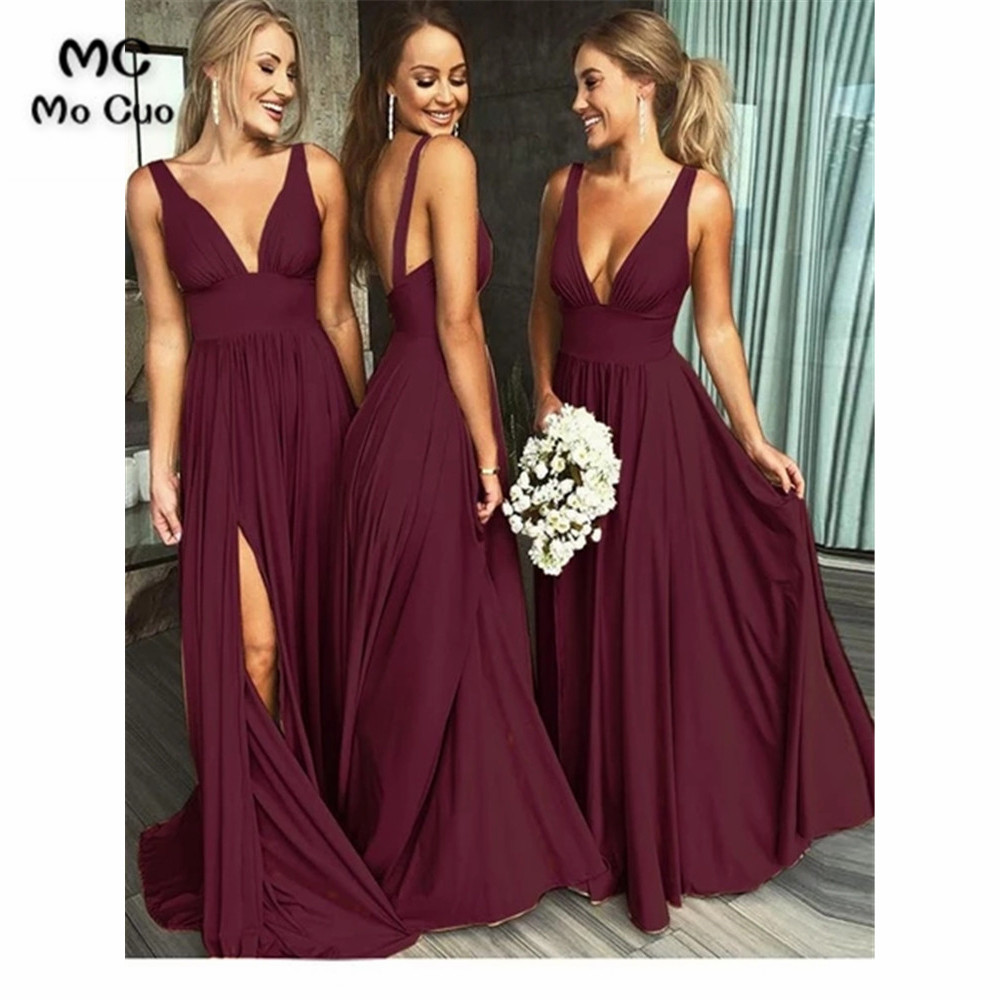 2019 Vintage Burgundy Bridesmaid Dresses V-Neck Wedding Party Dress Pleat Front Slit Chiffon Prom Bridesmaid Dresses For Women