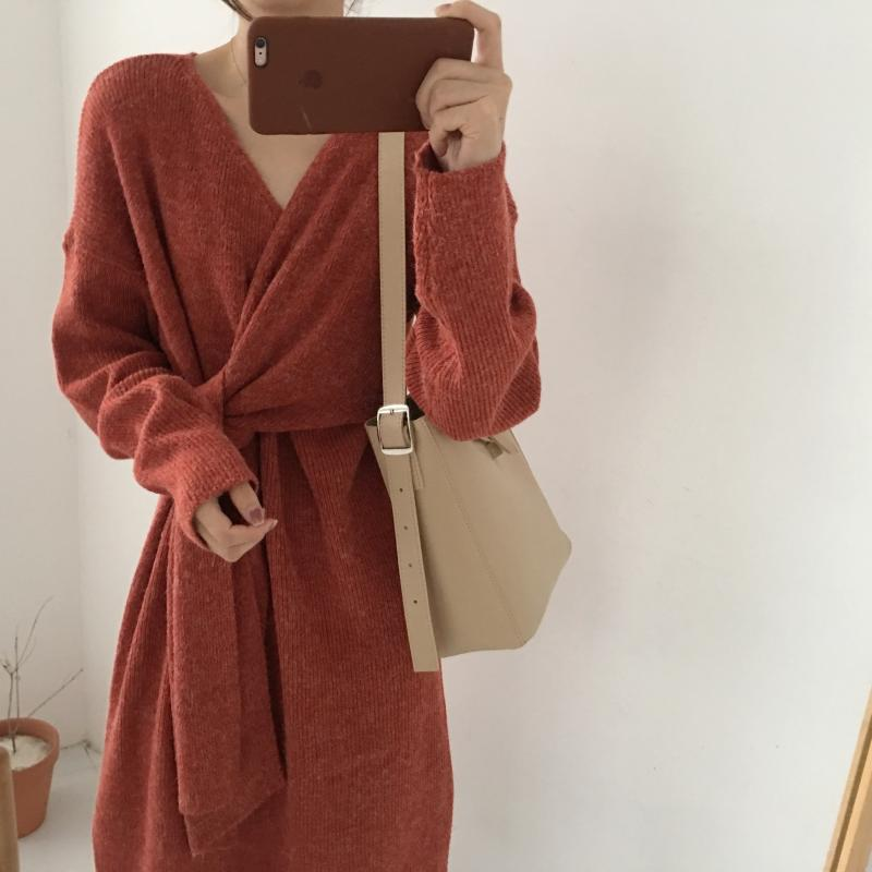 Hafa9e11c73af4ad3812ddab4c93e434c5 - Winter Korean V-Neck Long Sleeves Knitted Dress