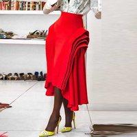 Women Party Club Wear Red Skirt High Waist Plus Size Pleated Ruffles Ladies Runway Tight Midi Skirts Autumn Fall Female Skort
