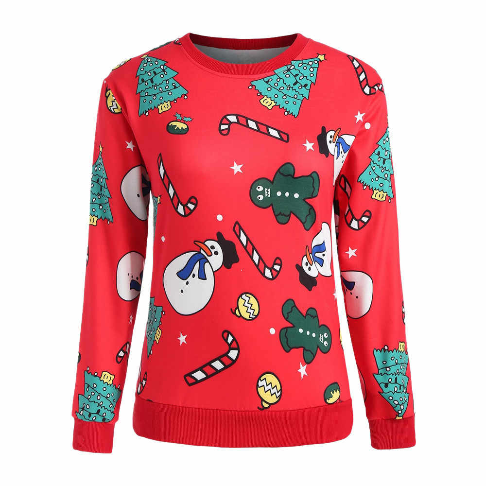 Women Red Christmas Sweatshirt O Neck Cartoon Snowman Christmas Tree Print Pullovers Ladies Full Sleeve Casual Jumper #T35