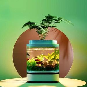 Image 5 - Xiaomi mijia geometria mini tanque de peixes preguiçoso usb carregamento auto limpeza aquário com 7 cores led luz do escritório em casa aquário