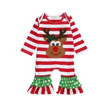 Elk Striped Baby Bodysuit Christmas Xostumes Jumpsuit Romper Boys & Girls Flare Full Length Bodysuit Autumn Winter Baby Clothes