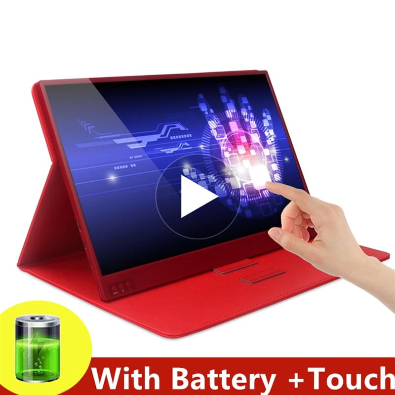 Touchscreen Tragbaren Monitor 1920x1080 HD IPS 15,6-zoll Display Monitor 6000mAh Akku laptop telefon XBOX Schalter