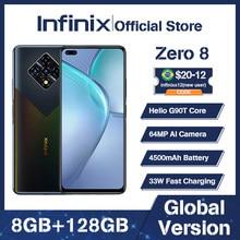 Globalna wersja Infinix Zero 8 8GB 128GB inteligentny telefon 6.85 ''FHD 90Hz pełny ekran 64MP Quad Camera 4500mAh bateria 33W ładowarka