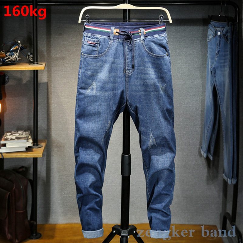 340 Pounds Stretch Jeans Male Oversized Elastic Waist 8XL Loose Extra Large 7XL Mens Jeans Brand
