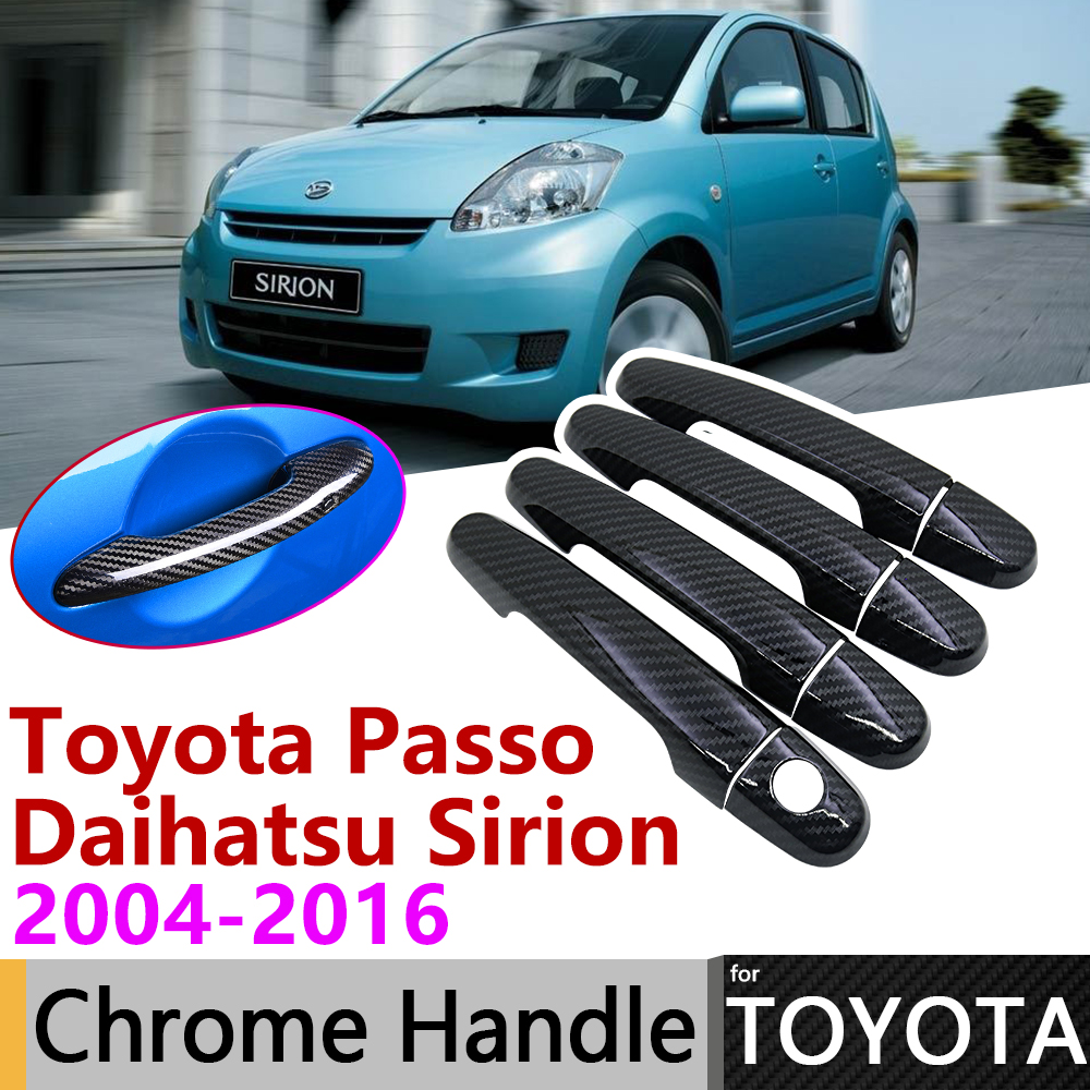 Black Carbon Fiber Door Handle Cover for Toyota Passo Daihatsu Sirion Boon M300 M600 2004~2016 Accessories Stickers Trim Chrome|Car Stickers| |  - title=