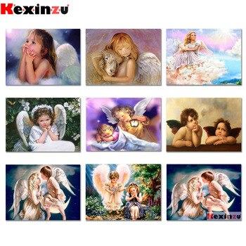 Pintura de diamante kexinzz chica cuadrada completa Ángel pintura con bordado de diamantes de imitación costura DIY mosaico de diamantes para manualidades YF04