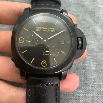 44mm Power reserve Men's Automatic Mechanical Watch Sandwich Dial Luminous Leather Strap Seagull Movement Men's Watch nk554 цена 2017