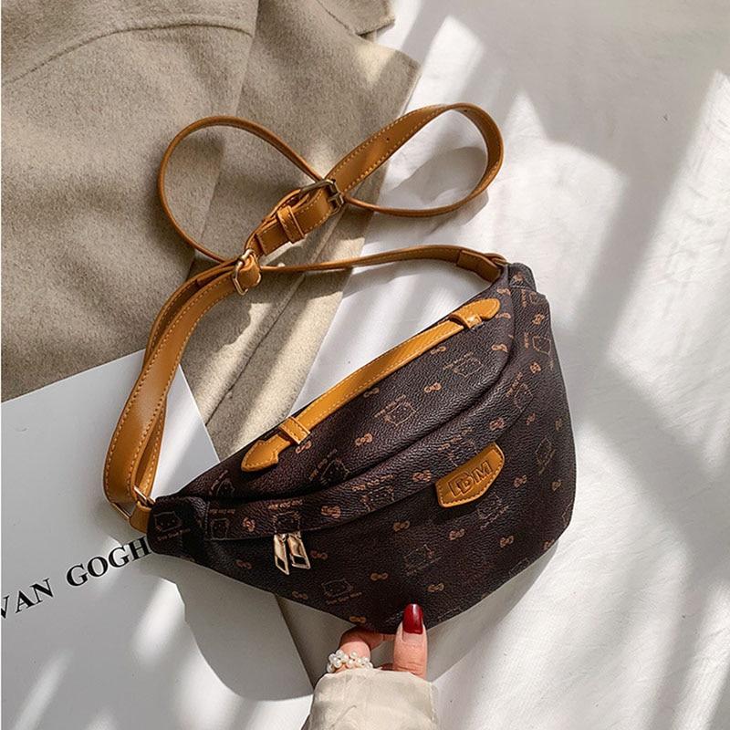 Luxury Brand Belt Bag For Women 2019 Leather Waist Pack Fashion Vintage Print Women Bags Girl Large Capacity Shoulder Chest Bag