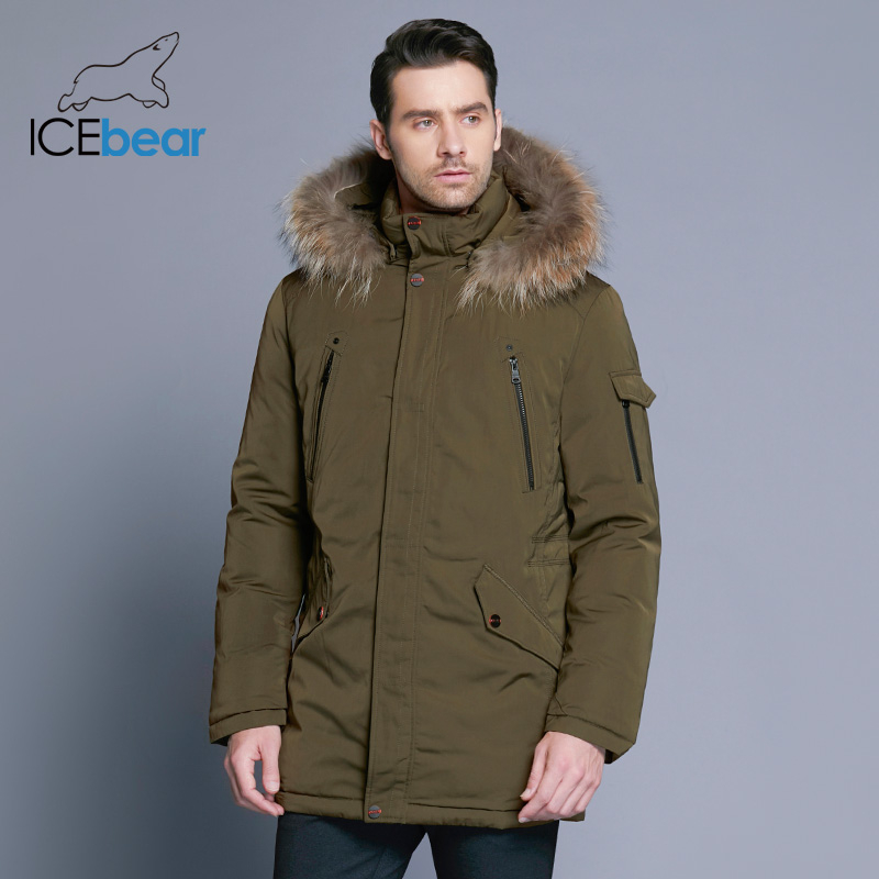 ICEbear 2019 Man Warm Winter Brand Jacket Luxury Detachable Fur Collar Turtleneck Windproof Concise Comfortable Cuffs 17MD903D-in Parkas from Men's Clothing