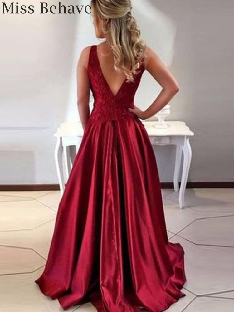 DD JYOY Women Dress Elegant Evening Gown Party Burgundy Satin Evening Dress with Train V Back Lace Body Simply Design