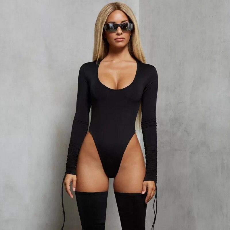 BONJEAN Long Sleeve Bodycon Sexy Bodysuit Women Streetwear Skinny Club Party Outfits Female Body Tops