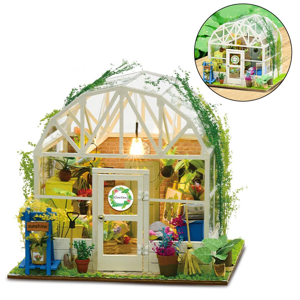 Romantic Flower House DIY Handmade Cabin With Art Lighting Creative Assembly Toy For Room Table For Children Gifts