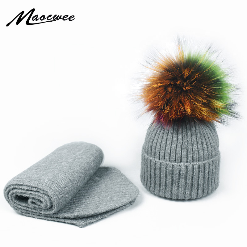 New Winter Scarf Beanie Hat Set With Colorful Fur Pompon For Children Adult Outdoor Warm Thick Cute Fashion Beanie Hat Scarf Set