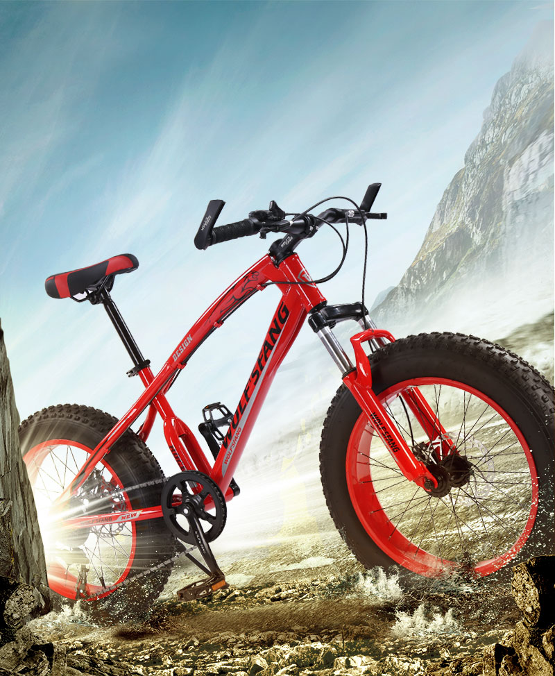 "Hafaa8ad4dec24458ac391c96bed86b71b wolf's fang bicycle mountain bike 7 /21 speed 2.0""X 4.0""bicycle Road bike fat bike Disc Brake Women and children"